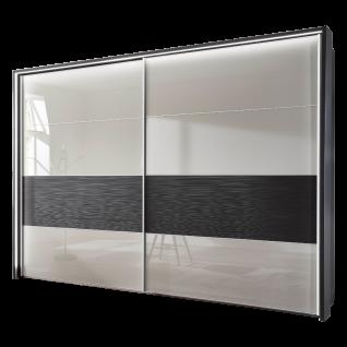 Wiemann Texel Schwebetürenschrank 2-türig Dekor Graphit mit Glas Weiß und Absetzung in Struktur Größe wählbar optional mit Dämpferset und Passepartout