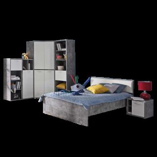Forte Canmore Jugendzimmer-Set 5-teilig mit Bett Liegefläche ca. 120x200cm Nachttisch Eck-Kleiderschrank und zwei Regal Jugendzimmer-Kombination mit Korpus in Betonoptik Lichtgrau und Front in Weiß Hochglanz Dekor
