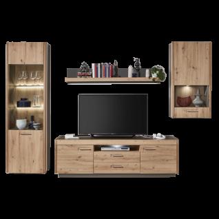 Ideal-Möbel Wohnwand Kombination Austin 52 bestehend aus Vitrine Wandregal Lowboard und Hängevitrine - Vorschau 1