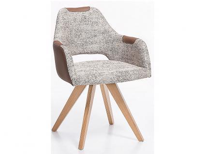 Standard Furniture Polstersessel Rimini mit Sitzschale F2 hinten offen für Esszimmer oder Wohnzimmer, Bezug zum Teil mit Kunstleder, auch unifarben erhältlich, verschiedene Gestellarten wählbar - Vorschau 3