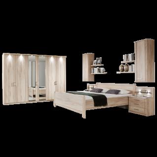 Wiemann Valencia Schlafzimmer Komfort-Stollenbett 6-türiger Drehtürenschrank Nachtschränke Hängeschränke und Steckböden in Steineiche-Nachbildung