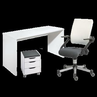Paidi Schulanfangsset Fiona Schreibtisch in Kreideweiß mit Schoolworld Stuhl Tio in Schwarz Weiß inklusive Jaro Rollcontainer 3S mit Sitzkissen ***AM LAGER***