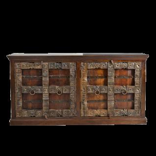 Sit Möbel ALMIRAH Sideboard mit 4 Türen braun Holz mit Schnitzereien und Verzierungen