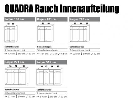 Kleiderschrank Quadra Rauch Möbel Schwebetürenschrank Schrank 2x Glas pro Türenfeld Dekor wählbar für Schlafzimmer, Griffleisten alufarben - Vorschau 2