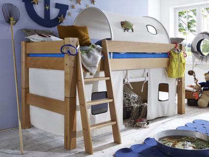 Infantil TOBYKIDS massives Halbhochbett inklusive Rollrost Liegefläche 90 x 200 cm mit Vorhang Spielhöhle und Tunnel Ausführung wählbar