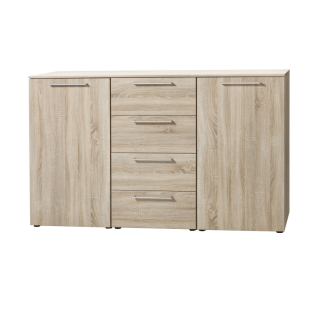 Nolte Alegro Basic Kombikommode mit 2 Türen und 4 Schubkästen mit Holz-Oberplatte Korpus und Front in Sonoma-Eiche-Nachbildung mit Stangengriffen in alu-matt