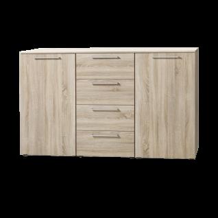Nolte Möbel Alegro2 Basic Kombikommode mit 2 Türen 4 Schubkästen und Holz-Oberplatte in Sonoma-Eiche-Nachbildung mit Stangengriffen in alu-matt