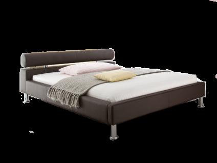 Meise Möbel ANELLO Polsterbett mit Kunstlederbezug in braun weiß oder schwarz Kopfteil mit Kopfteilrolle Liegefläche wählbar