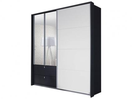Rauch Packs Kombino Kleiderschrank 3-türig, in einer Kombination aus Schwebetür, Drehtüren und 2 Schubkästen, Schrankbreite ca.181 cm Front in Dekor mit Spiegelauflage auf den Drehtüren