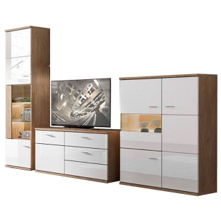 Stralsunder Largo Wohnkombination EB33001 fünfteilige Wohnwand mit Vitrine Lowboard und Highboard für Ihr Wohnzimmer Wandboard Beleuchtung und Dekorausführung wählbar