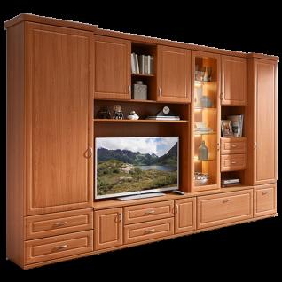 Stralsunder Jasmund Wohnkombination EB31507 siebensteilige Wohnwand mit Schrank Lowboard Überbau und Aufsatzetementen für Wohnzimmer Dekor Rückwandspiegel und Beleuchtung wählbar