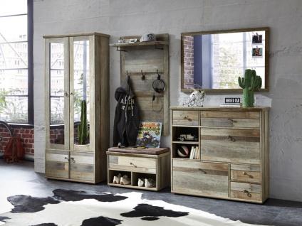 Innostyle Garderoben Kombination BONANZA Garderobe 5teilig 30 64 DD 80 komplett Dielenmöbel in Driftwood MDF für Flur und Eingangsbereich