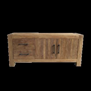 Sit Möbel BANDA Lowboard aus recycelten Teakholz mit Metallgriffen Inustrie Stil