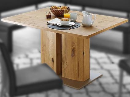Schösswender Säulentisch Modell P100 Esstisch mit furnierter Tischplatte für Esszimmer mit wählbarer Holzausführung und Größe und Auszugsfunktion Esstisch passend zum Programm Masala und Moringa