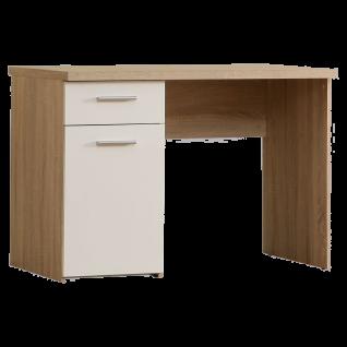 Forte Winnie Jugendzimmer Schreibtisch WNB935_Q36 Breite ca. 110 cm 1 Tür 1 Schubkasten im Dekor Sonoma Eiche Nachbildung kombiniert mit Weiß