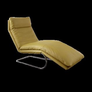Willi Schillig Liege Jill 10440 mit einer Sitzbreite von ca. 65 cm und einem hochwertigen Freischwingergestell in Chrom glänzend und einem sehenswerten Echtlederbezug in der Farbe sunrise Z73/70