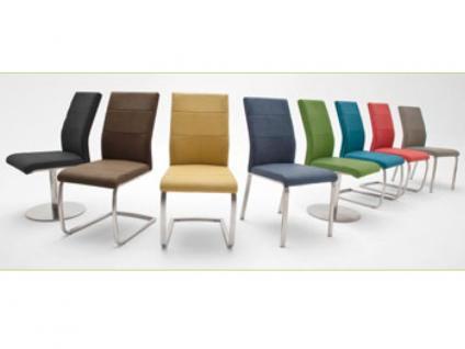 MCA Stuhlsystem Flores 2er Set Stuhl Ausführung B - mit Kunstleder Argentina und Gestell Edelstahl gebürstet, Bezugsfarbe und Gestellform wählbar