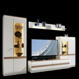 Stralsunder Binz 6-teilige Wohnwand bestehend aus einer Säule einem Highboard einem Wandboard und einem Lowboard Ausführung Korpus und Fronten in Tonweiß matt mit Absetzungen in Alteiche optional mit geschroppten Rückwänden und passender Beleuchtung für I