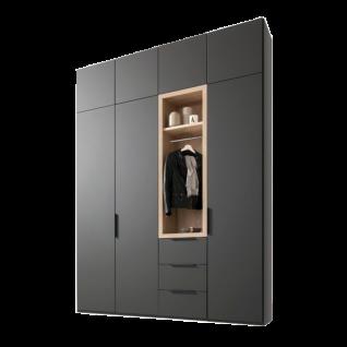 Nolte Möbel Horizont 100 Drehtürenschrank mit Garderoben-Funktionselement in Basalt mit Absetzung Sonoma Eiche Nachbildung und Auftsatzschränken