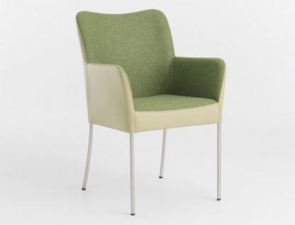 Bert Plantagie Spargo Polsterstuhl mit Bi-Color Polsterung Stuhl mit Armlehnen für Esszimmer Gestellausführung und Bezug in Leder oder Stoff wählbar