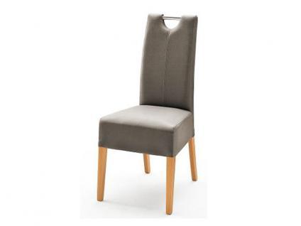 MCA Direkt Stuhl Enya Bezug Argentina in der Farbe taupe 2er Set Polsterstuhl für Wohnzimmer und Esszimmer Ausführung 4 Fuß Massivholzgestell und Chromgriff