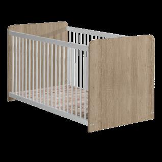 Forte Winnie Babyzimmer Babybett BBSL071 mit 3 Schlupfsprossen inkl. Lattenrost mit 3-facher Höhenverstellung Dekor wählbar