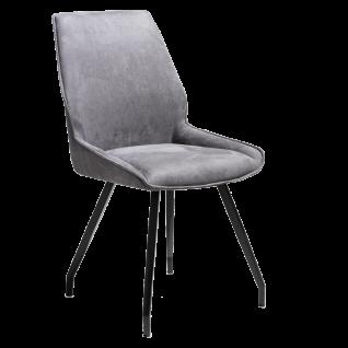 Habufa Polsterstuhl Scott mit Griff rückseitig Bezug in Anthrazit 4-Fuß Metallgestell schwarz für Ihr Esszimmer oder Ihre Küche