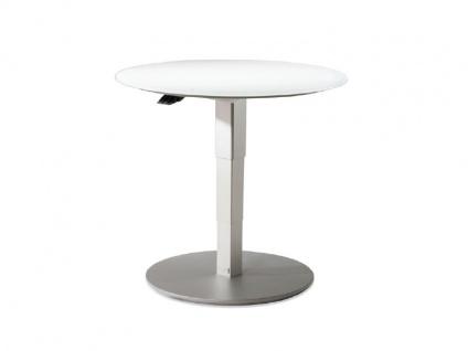 Vierhaus Couchtisch 1866 runde Glas-Tischplatte weiß matt höhenverstellbar mit ILse-Button-Tele-Lift Mechanik - Vorschau 3
