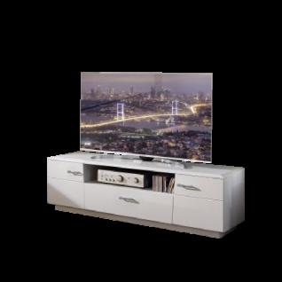Wohn-Concept Alibaba Lowboard 40 88 WW 30 modernes TV-Unterteil für Ihr Wohnzimmer mit zwei Türen einem offenen Fach und einem Schubkasten TV-Element in Weiß Hochglanz und Weiß matt