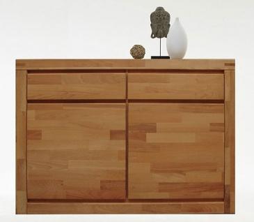 Elfo-Möbel Kommode 6244 mit 2 Türen und 2 Schubkästen, Beimöbel Kernbuche Massivholz, Schlafzimmeranrichte für Ihr Schlafzimmer