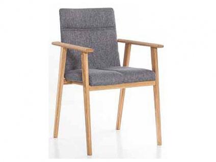 Standard Furniture Stuhl Arona Polsterstuhl mit Massivholzgestell und Schwingrücken Stuhl Alina mit Armlehnen für Esszimmer oder Küche in drei Holzausführungen Bezug wählbar