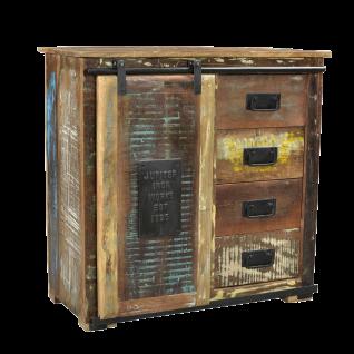 Sit Möbel JUPITER Kommode aus recycelten Altholz bunt im Used Look mit Schiebetür