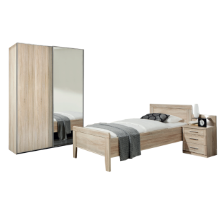 Wiemann Meran Schlafzimmerset mit Komfortbett mit Holz-Kopfteil Schwebetürenschrank Nachtschrank und Paneel in Eiche-sägerau-Nachbildung