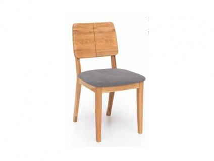Standard Furniture Stuhl Norman 2 Gestell und Rückenlehne in Massivholz Sitz gepolstert Stuhl für Esszimmer und Küche Holzausführung und Bezug wählbar