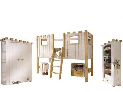 Infantil Infanskids Kinderzimmer Ritterburg bestehend aus Bett mit Ritterburg-Aufsatz inkl. Kleiderschrank und offenes Regal Ritterburg