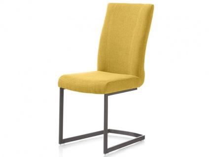 Habufa Sofie Freischwinger für Ihr Esszimmer Schwingstuhl mit viereckigem Vintage-Metall-Gestell und wählbarem Stoffbezug Handgriff an der Rückenlehne wählbar