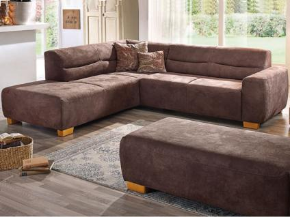 K+W Möbel 7031 Bono Ecksofa Sofagarnitur Polstergarnitur Couch für Wohnzimmer Bezug Stoff oder Leder wählbar