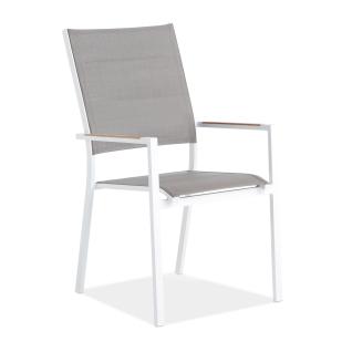 Niehoff Garden Nantes Hochlehner G462 Gartenstuhl mit Aluminiumgestell in wählbarer Farbe Sitz und Rücken Textilene Armlehnauflagen Teak Massivholz