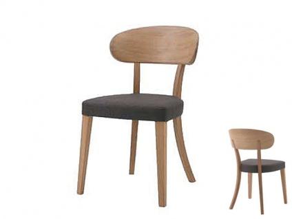 Wöstmann C100 Casa Avanti Stuhl 596 mit Holzrücken Stuhl für Esszimmer Gestell Massivholz in europäischer Wildeiche bianco geölt und Polstersitz Bezug wählbar