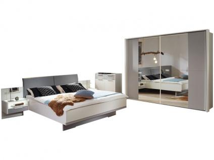 Rauch Steffen Samoa Schlafzimmer-Set 6-teilig bestehend aus Bett mit Polsterkopfteil inklusive 2 hängenden Nachtkommoden mit Paneel und 2-türigem Schwebetürenschrank