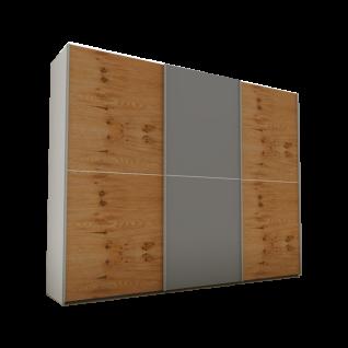 Nolte Express Möbel One 310 Schwebetürenschrank Teilfront mit Spiegelauflage Wildeiche-Furnier und mittiger Zierleiste , Schrankbreite und -höhe wählbar