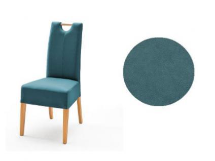 MCA Direkt Stuhl Elida petrol Bezug Argentina 2er Set Polsterstuhl für Wohnzimmer und Esszimmer und Küche Ausführung 4 Fuß Massivholzgestell und Griff wählbar