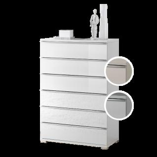 Staud Möbel Rubin Schubkastenkommode mit 6 Schubkästen Korpus in Dekor Front verglast Farbe wählbar Griffleisten und Füße chromfarbig