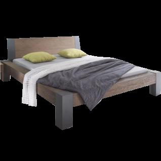 Hasena Oak-Wild Bormio Bett Liegefläche 180x200 cm bestehend aus Bettrahmen Bormio mit Kopfteil Sion in Wildeiche coffee gebürstet geölt und Bettfüße Cobo aus Metall in Anthracit