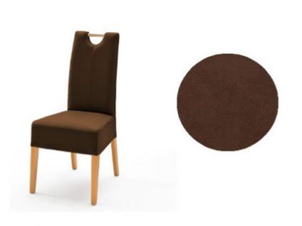 MCA Direkt Stuhl Elida braun Bezug Argentina 2er Set Polsterstuhl für Wohnzimmer und Esszimmer und Küche Ausführung 4 Fuß Massivholzgestell und Griff wählbar