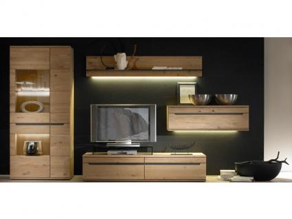 Decker Möbelwerke Wohnwand Ameno Massivholz 4-teilig Kombination Vorschlag 18123 für Wohnzimmer Ausführung Front / Korpus und Beleuchtung wählbar