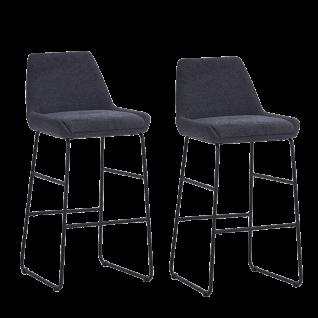Sit Möbel SIT&CHAIRS Barhocker im 2er-Set Bezug Textilstoff anthrazit Gestell Stahl