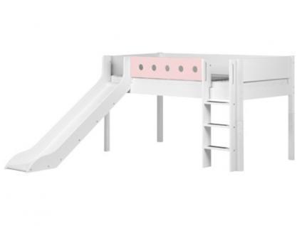 Kinderbett Bett halbhoch 90x200 cm Flexa White massiv mit senkrechter Leiter Rutsche farbiger Absturzsicherung Pfosten aus Birke Flexa4Dreams