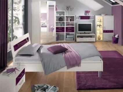 Priess Riva komplettes Schlafzimmer bestehend aus Bett mit Glasauflage am Kopfteil 2-türiger Eckschrank Nachtschrank mit 2 Schubkästen