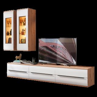 Stralsunder Breege Wohnkombination EB27002 mit drei Lowboards und zwei Hängevitrinen im Dekor Alteiche Nachbildung und Tonweiß